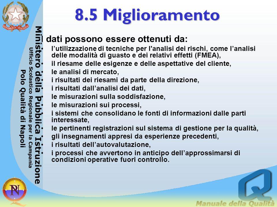 8.5 Miglioramento 8.5.3 Prevenzione delle perdite La direzione dovrebbe prevedere di attenuare le conseguenze per lorganizzazione, al ne di mantenere