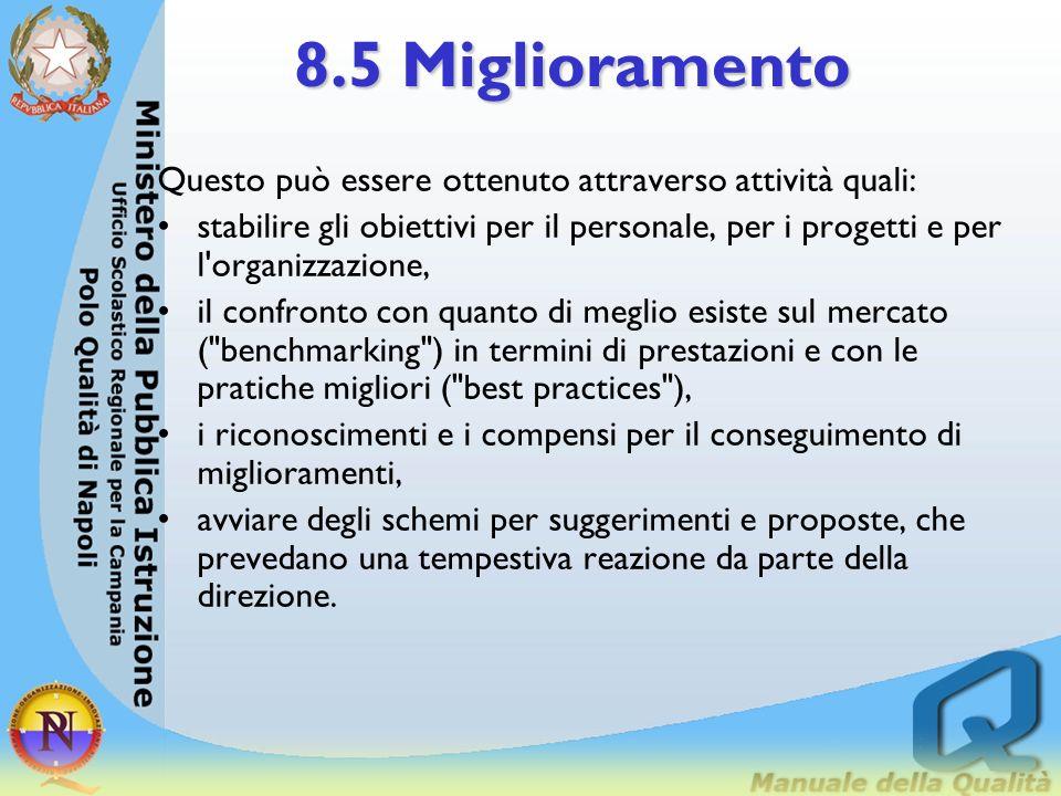 8.5 Miglioramento 8.5. 4 Miglioramento continuo dell'organizzazione Per contribuire ad assicurare il futuro dell'organizzazione e la soddisfazione del