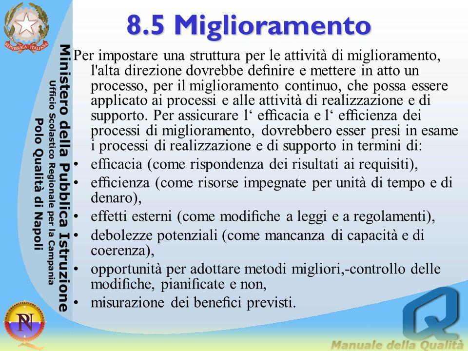 8.5 Miglioramento Questo può essere ottenuto attraverso attività quali: stabilire gli obiettivi per il personale, per i progetti e per l'organizzazion