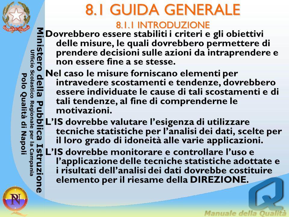 8.1 GUIDA GENERALE 8.1.1 INTRODUZIONE 8.1.1. Introduzione Il PROCESSO di misurazione dovrebbe comprendere le fasi: osservazione dei processi didattici