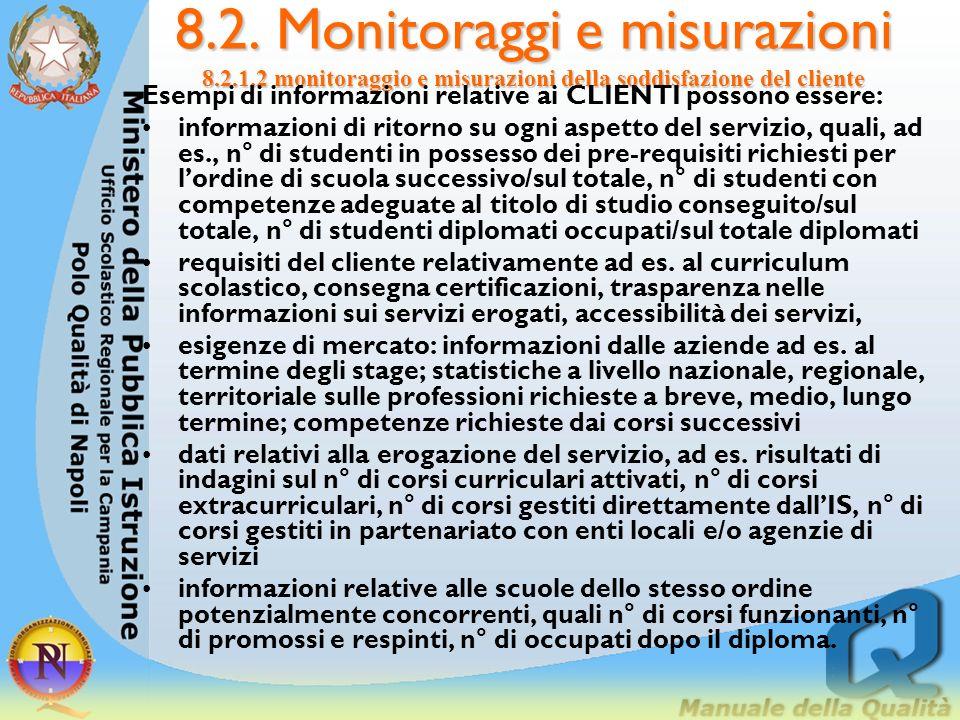 8.2. Monitoraggi e misurazioni 8.2.1.2 monitoraggio e misurazioni della soddisfazione del cliente 8.2.1.2. Monitoraggio e misurazioni della soddisfazi