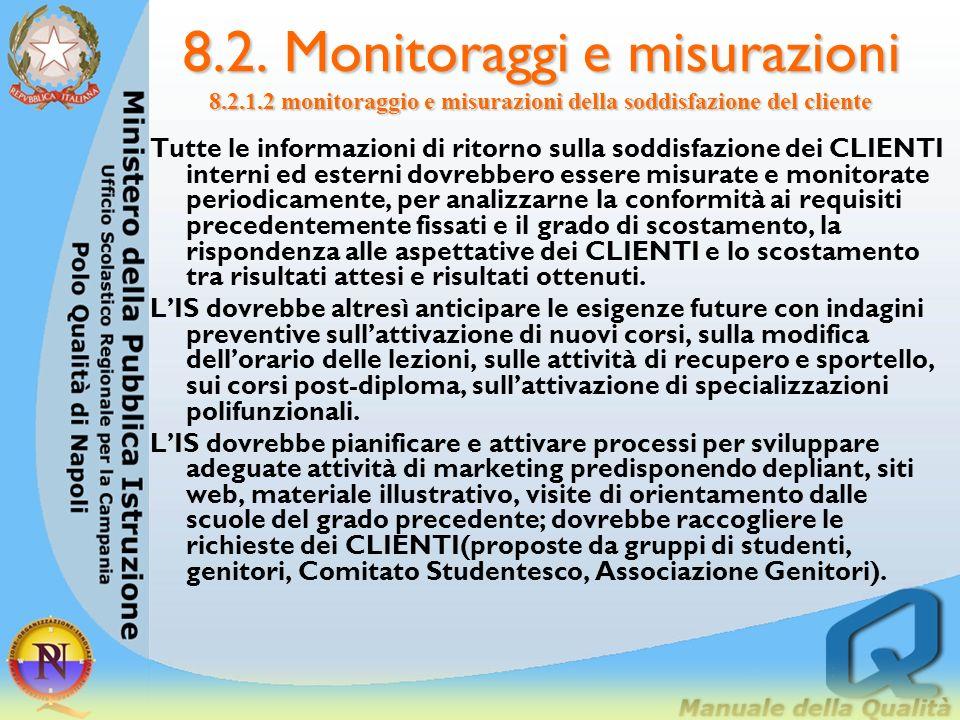 8.2. Monitoraggi e misurazioni 8.2.1.2 monitoraggio e misurazioni della soddisfazione del cliente Esempi di informazioni relative ai CLIENTI possono e