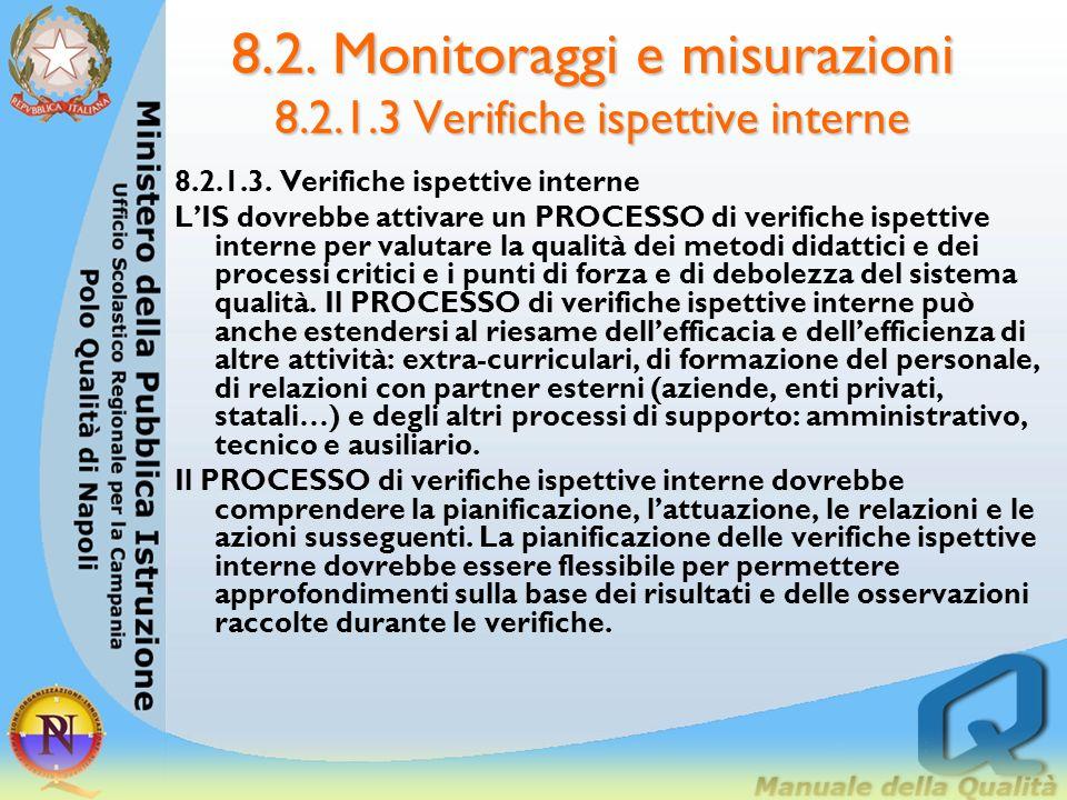 8.2. Monitoraggi e misurazioni 8.2.1.2 monitoraggio e misurazioni della soddisfazione del cliente LIS dovrebbe indicare quali metodi, con che frequenz