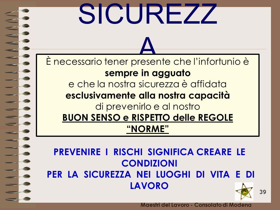 39 SICUREZZ A Maestri del Lavoro - Consolato di Modena È necessario tener presente che linfortunio è sempre in agguato e che la nostra sicurezza è aff