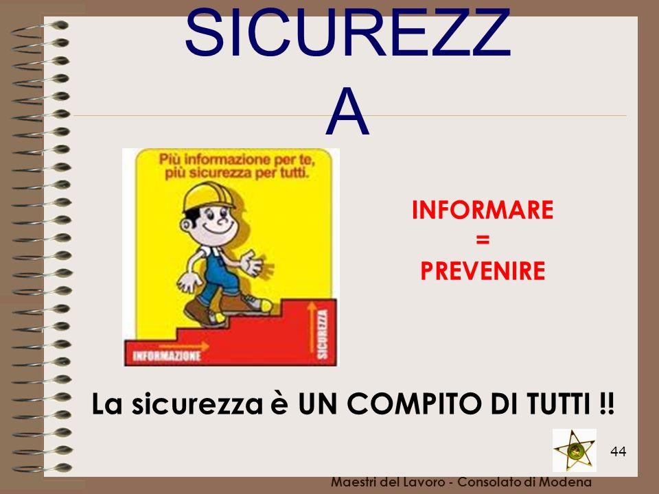 44 Maestri del Lavoro - Consolato di Modena La sicurezza è UN COMPITO DI TUTTI !! INFORMARE = PREVENIRE SICUREZZ A