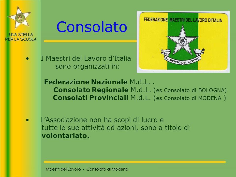 8 I Maestri del Lavoro dItalia sono organizzati in: Federazione Nazionale M.d.L.. Consolato Regionale M.d.L. ( es.Consolato di BOLOGNA) Consolati Prov