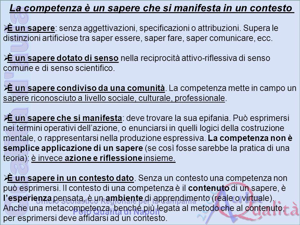 Ufficio Scolastico Regionale per la Campania Polo Qualità di Napoli La competenza è un sapere che si manifesta in un contesto È un sapere: senza agget