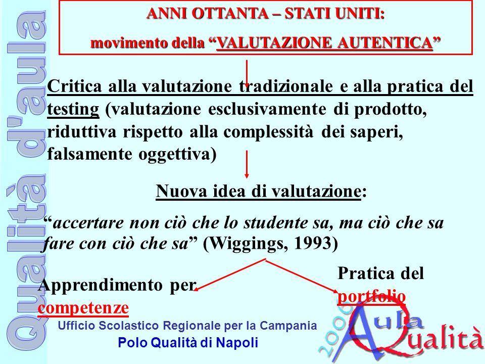 Ufficio Scolastico Regionale per la Campania Polo Qualità di Napoli ANNI OTTANTA – STATI UNITI: movimento della VALUTAZIONE AUTENTICA Critica alla val