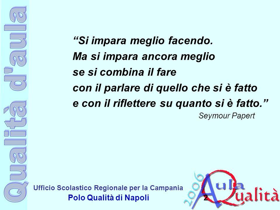 Ufficio Scolastico Regionale per la Campania Polo Qualità di Napoli Valutazione del o per lapprendimento.