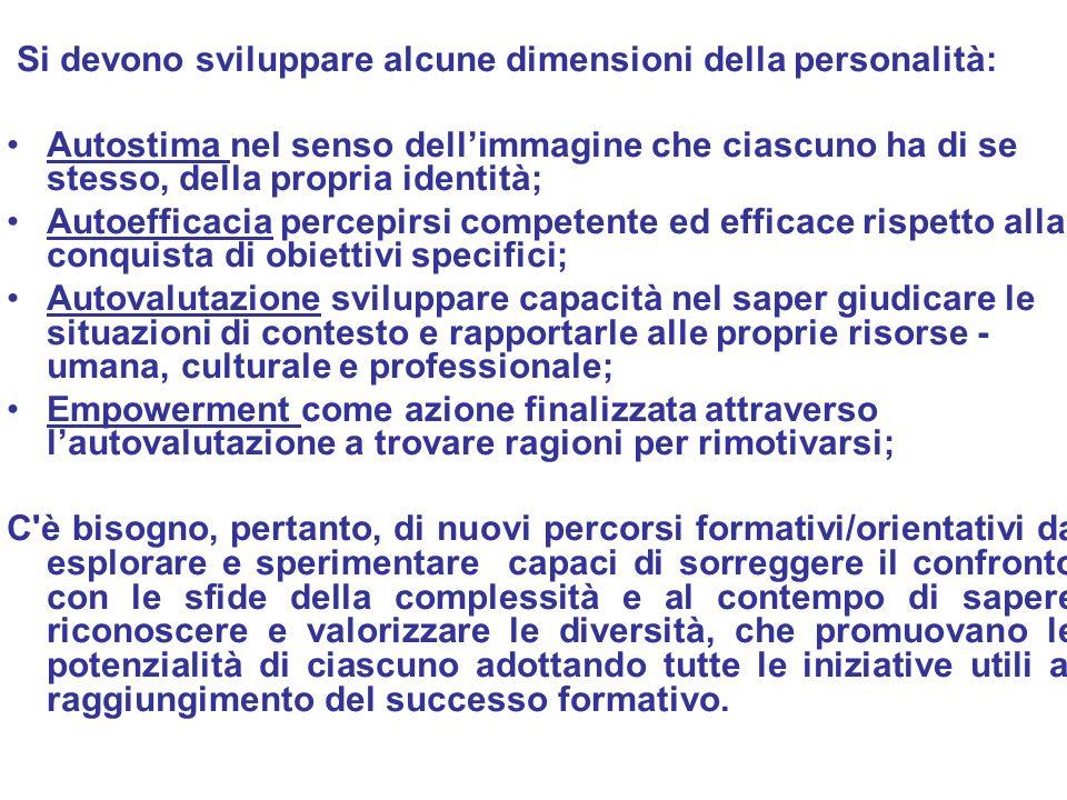 Ufficio Scolastico Regionale per la Campania Polo Qualità di Napoli Si devono sviluppare alcune dimensioni della personalità: Autostima nel senso dell