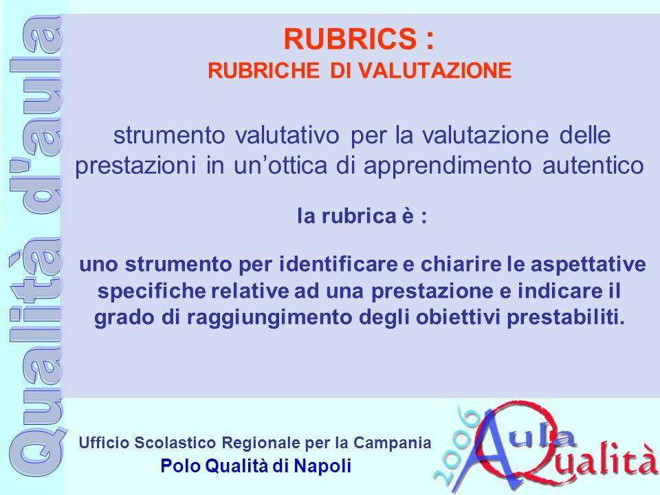 Ufficio Scolastico Regionale per la Campania Polo Qualità di Napoli RUBRICS : RUBRICHE DI VALUTAZIONE strumento valutativo per la valutazione delle pr