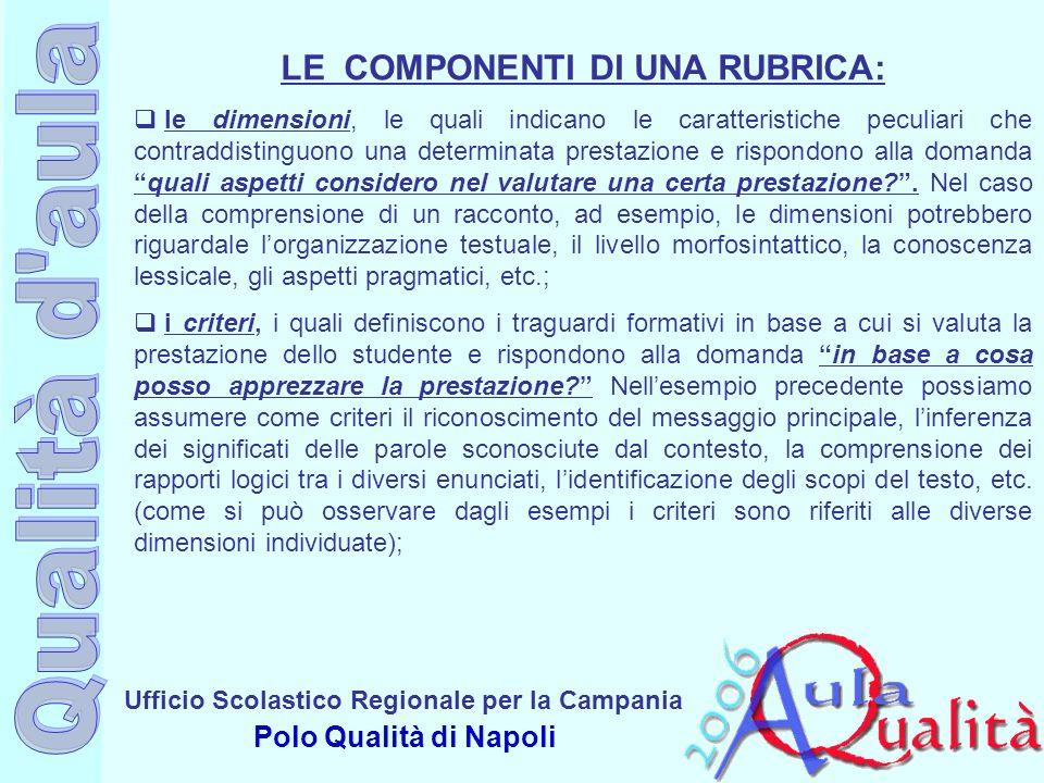 Ufficio Scolastico Regionale per la Campania Polo Qualità di Napoli LE COMPONENTI DI UNA RUBRICA: le dimensioni, le quali indicano le caratteristiche