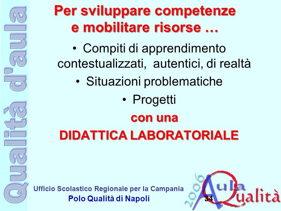 Ufficio Scolastico Regionale per la Campania Polo Qualità di Napoli Per sviluppare competenze e mobilitare risorse … Compiti di apprendimento contestu