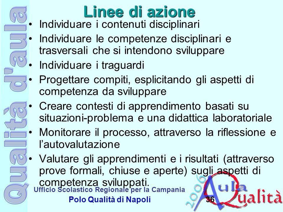 Ufficio Scolastico Regionale per la Campania Polo Qualità di Napoli Linee di azione Individuare i contenuti disciplinari Individuare le competenze dis