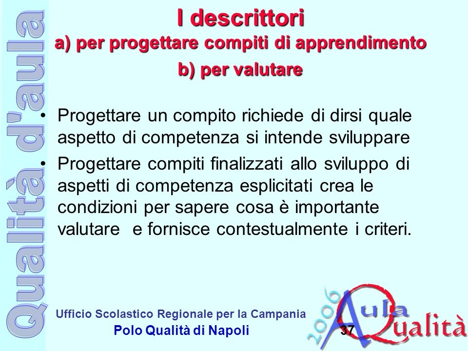 Ufficio Scolastico Regionale per la Campania Polo Qualità di Napoli I descrittori a) per progettare compiti di apprendimento b) per valutare Progettar