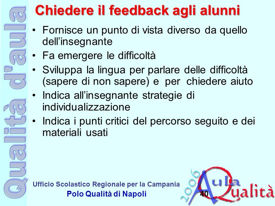 Ufficio Scolastico Regionale per la Campania Polo Qualità di Napoli Chiedere il feedback agli alunni Fornisce un punto di vista diverso da quello dell