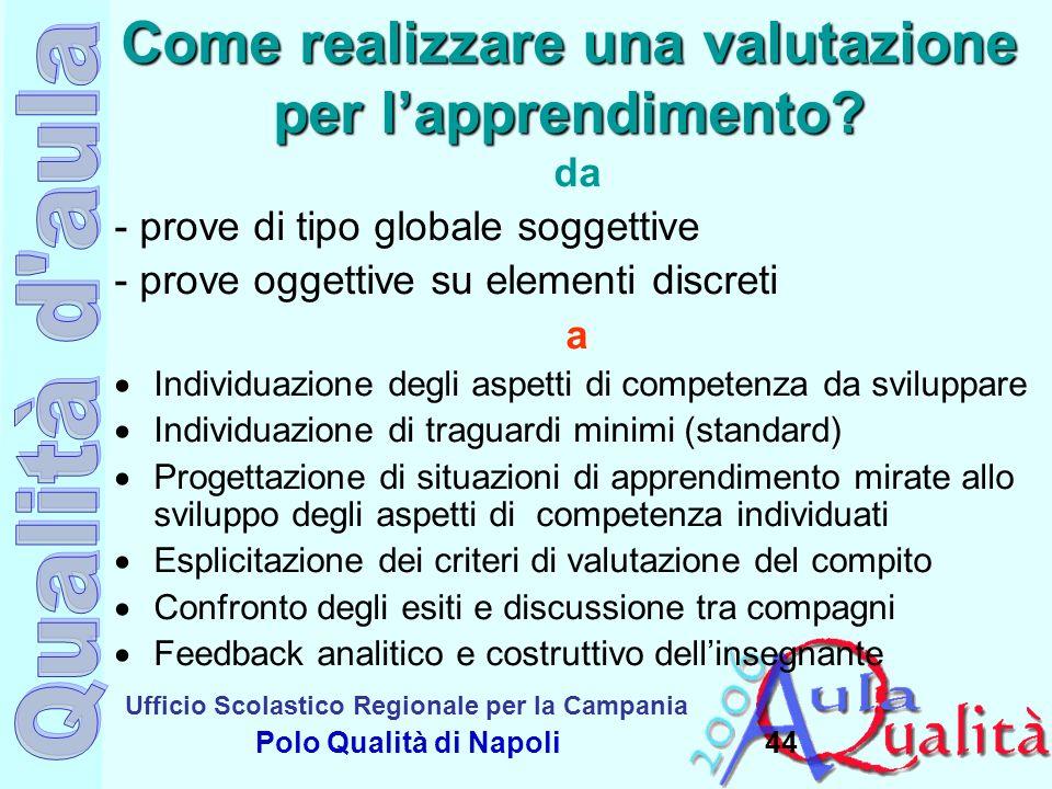 Ufficio Scolastico Regionale per la Campania Polo Qualità di Napoli Come realizzare una valutazione per lapprendimento? da - prove di tipo globale sog