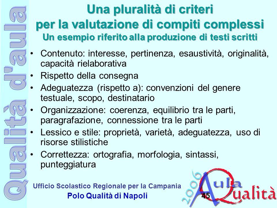 Ufficio Scolastico Regionale per la Campania Polo Qualità di Napoli Una pluralità di criteri per la valutazione di compiti complessi Un esempio riferi