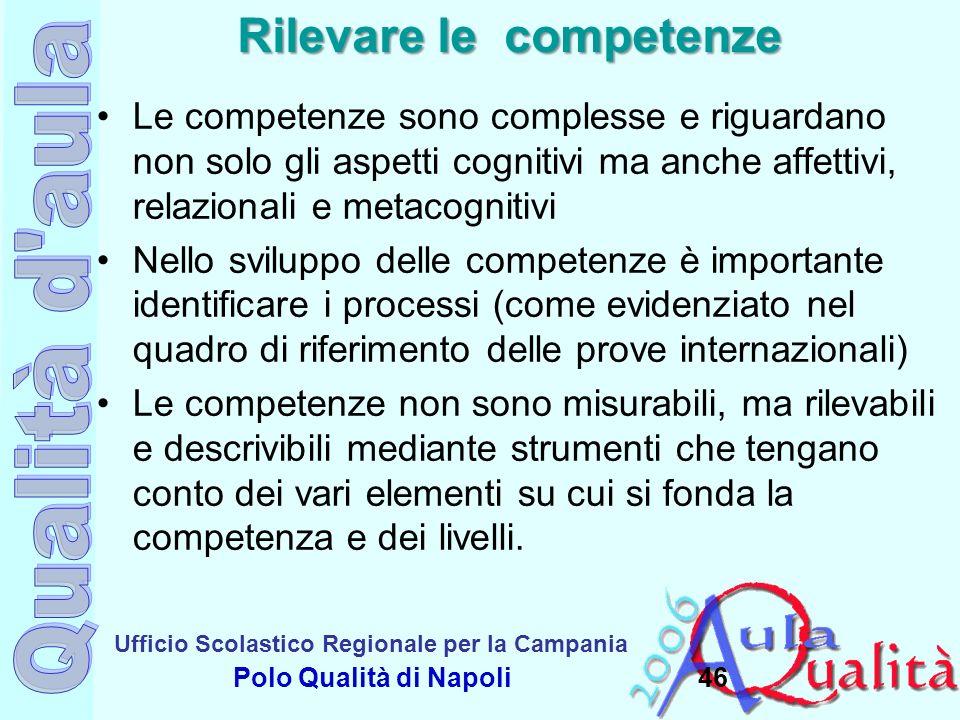 Ufficio Scolastico Regionale per la Campania Polo Qualità di Napoli Rilevare le competenze Le competenze sono complesse e riguardano non solo gli aspe