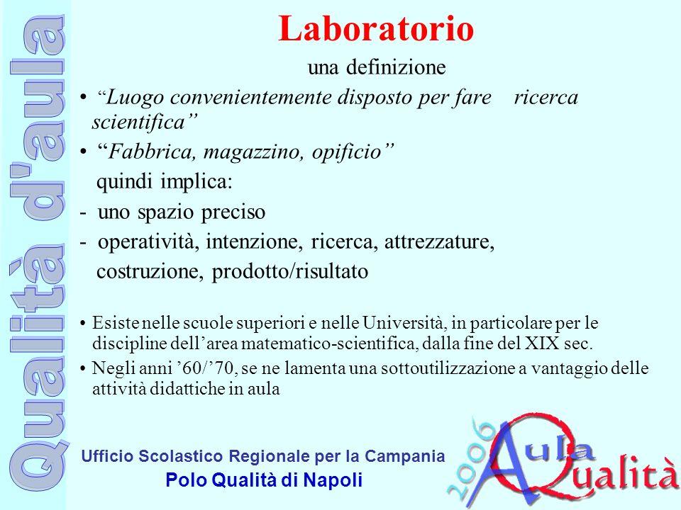 Ufficio Scolastico Regionale per la Campania Polo Qualità di Napoli Laboratorio una definizione Luogo convenientemente disposto per fare ricerca scien