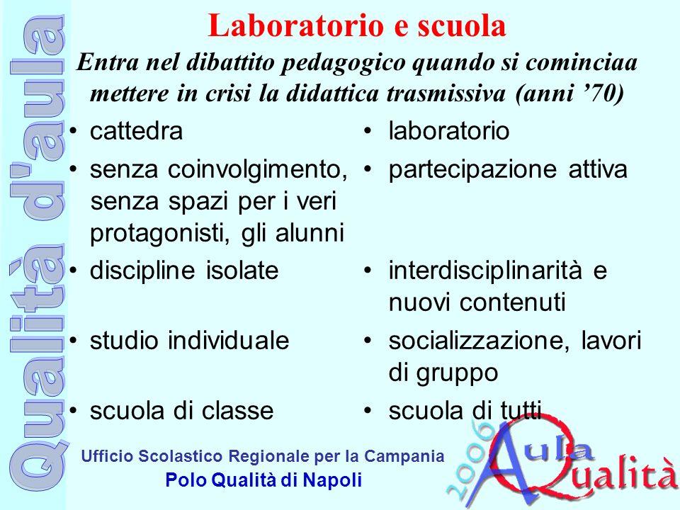 Ufficio Scolastico Regionale per la Campania Polo Qualità di Napoli Laboratorio e scuola Entra nel dibattito pedagogico quando si cominciaa mettere in