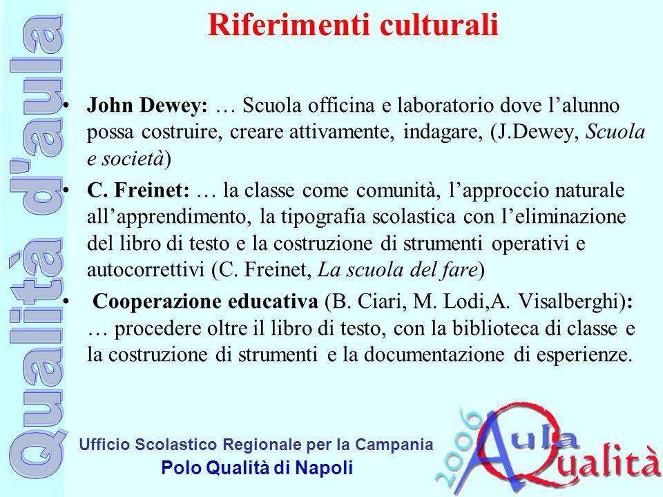 Ufficio Scolastico Regionale per la Campania Polo Qualità di Napoli Riferimenti culturali John Dewey: … Scuola officina e laboratorio dove lalunno pos
