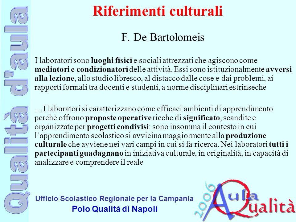 Ufficio Scolastico Regionale per la Campania Polo Qualità di Napoli Riferimenti culturali F. De Bartolomeis I laboratori sono luoghi fisici e sociali