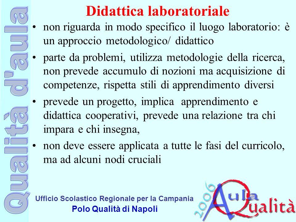 Ufficio Scolastico Regionale per la Campania Polo Qualità di Napoli Didattica laboratoriale non riguarda in modo specifico il luogo laboratorio: è un