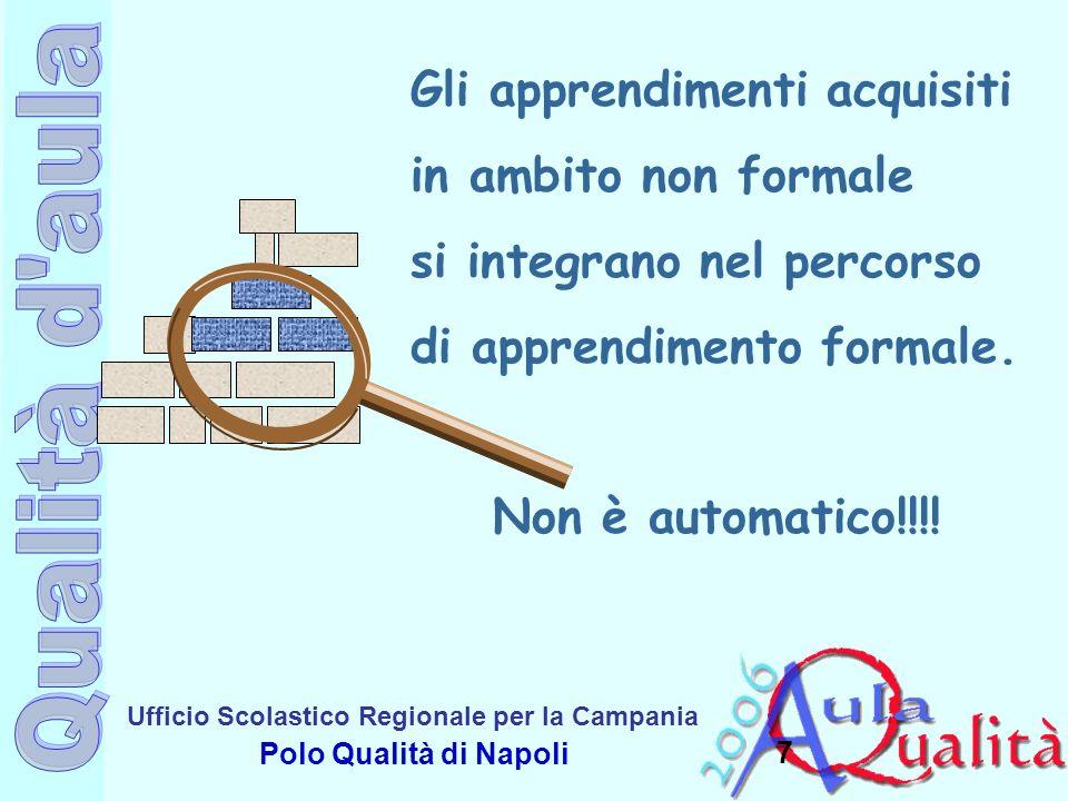Ufficio Scolastico Regionale per la Campania Polo Qualità di Napoli 7 Gli apprendimenti acquisiti in ambito non formale si integrano nel percorso di a