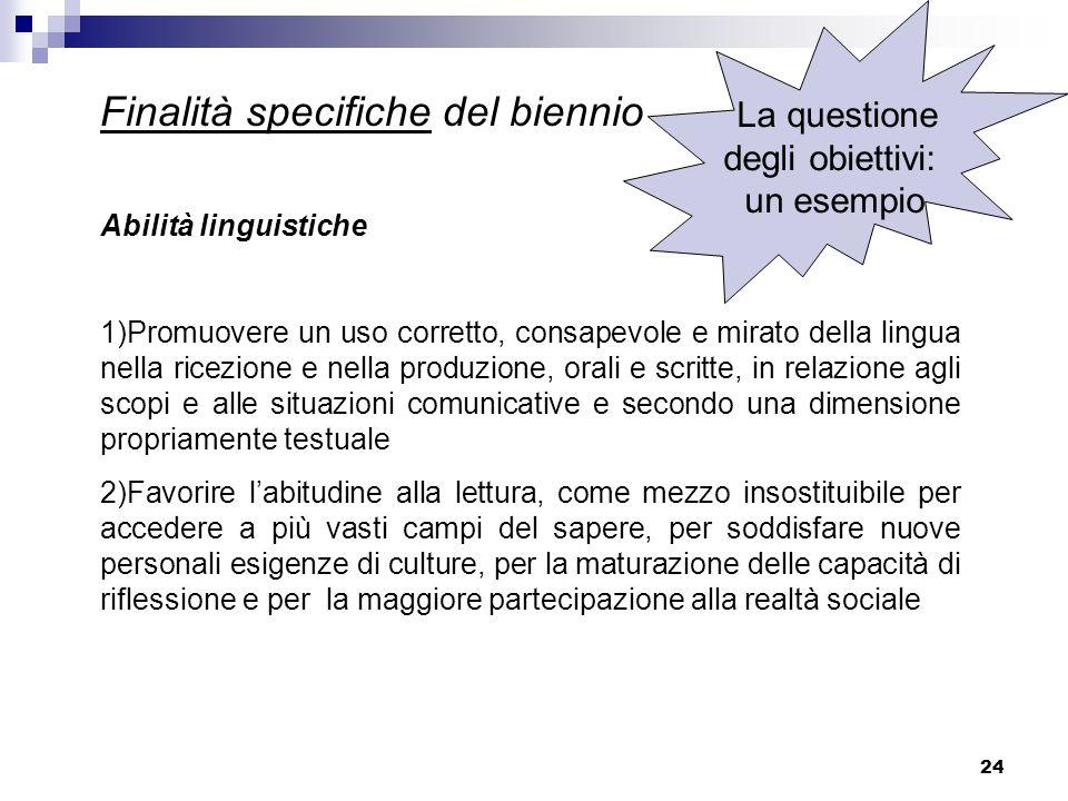 24 Finalità specifiche del biennio Abilità linguistiche 1)Promuovere un uso corretto, consapevole e mirato della lingua nella ricezione e nella produz