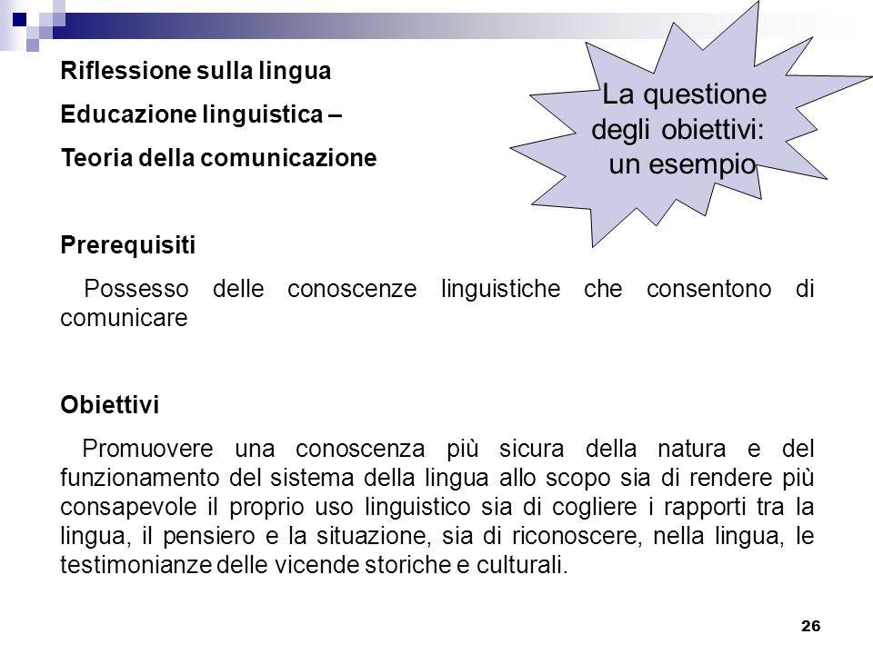 26 Riflessione sulla lingua Educazione linguistica – Teoria della comunicazione Prerequisiti Possesso delle conoscenze linguistiche che consentono di