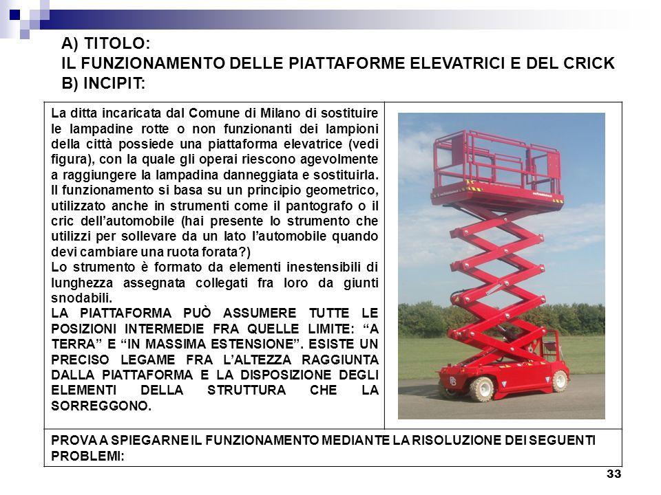 33 A) TITOLO: IL FUNZIONAMENTO DELLE PIATTAFORME ELEVATRICI E DEL CRICK B) INCIPIT: La ditta incaricata dal Comune di Milano di sostituire le lampadin