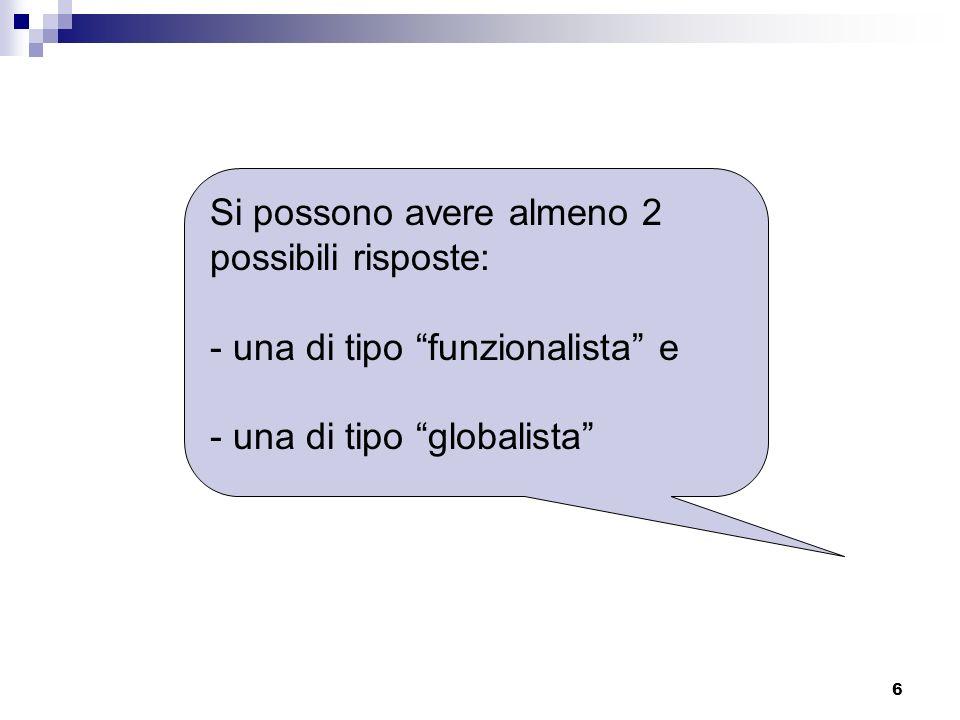 6 Si possono avere almeno 2 possibili risposte: - una di tipo funzionalista e - una di tipo globalista