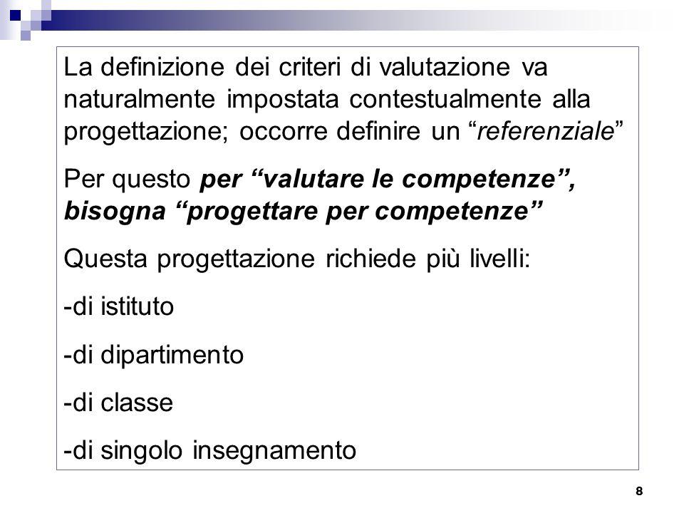 8 La definizione dei criteri di valutazione va naturalmente impostata contestualmente alla progettazione; occorre definire un referenziale Per questo