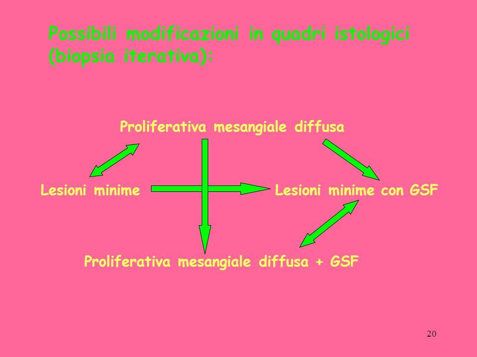20 Proliferativa mesangiale diffusa Lesioni minimeLesioni minime con GSF Proliferativa mesangiale diffusa + GSF Possibili modificazioni in quadri istologici (biopsia iterativa):