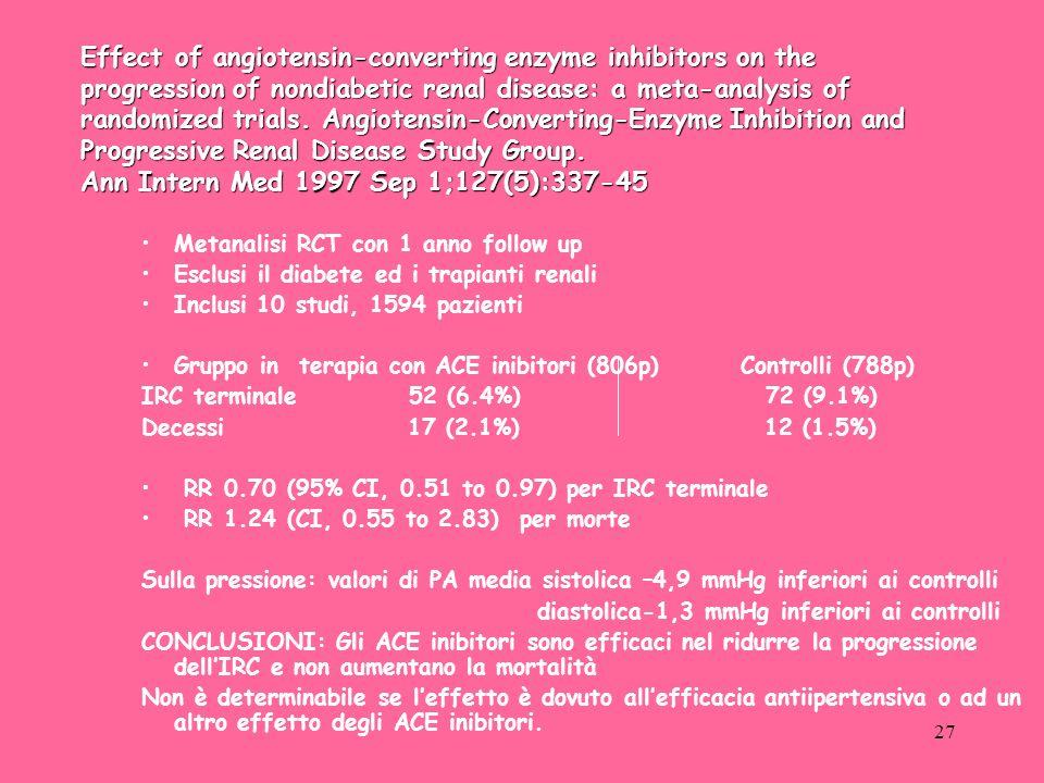 27 Metanalisi RCT con 1 anno follow up Esclusi il diabete ed i trapianti renali Inclusi 10 studi, 1594 pazienti Gruppo in terapia con ACE inibitori (806p) Controlli (788p) IRC terminale 52 (6.4%) 72 (9.1%) Decessi 17 (2.1%) 12 (1.5%) RR 0.70 (95% CI, 0.51 to 0.97) per IRC terminale RR 1.24 (CI, 0.55 to 2.83) per morte Sulla pressione: valori di PA media sistolica –4,9 mmHg inferiori ai controlli diastolica-1,3 mmHg inferiori ai controlli CONCLUSIONI: Gli ACE inibitori sono efficaci nel ridurre la progressione dellIRC e non aumentano la mortalità Non è determinabile se leffetto è dovuto allefficacia antiipertensiva o ad un altro effetto degli ACE inibitori.