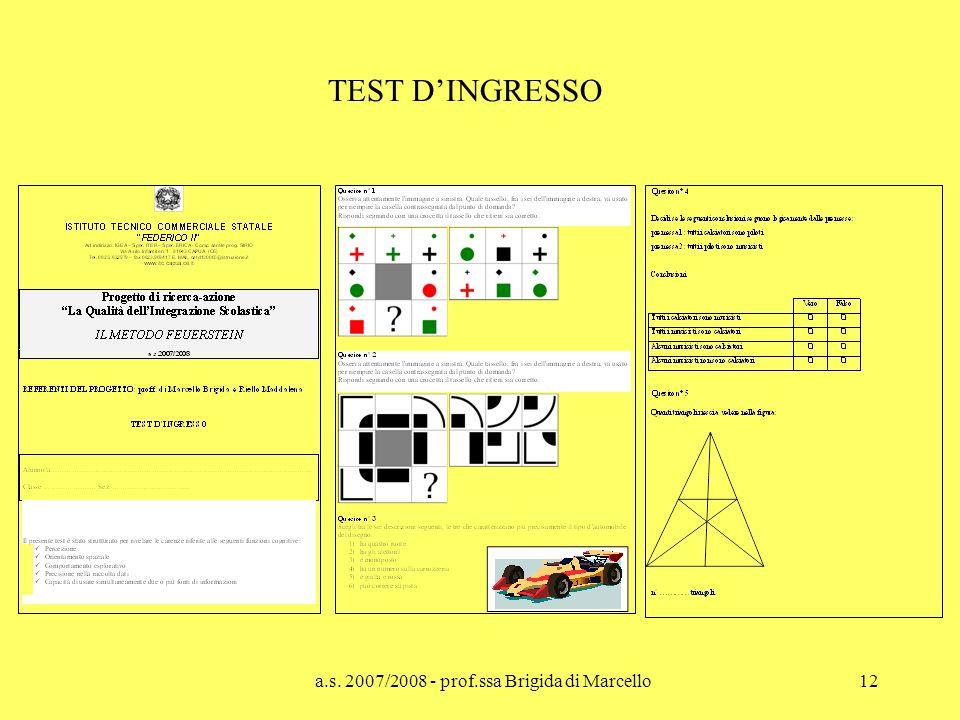 a.s. 2007/2008 - prof.ssa Brigida di Marcello12 TEST DINGRESSO