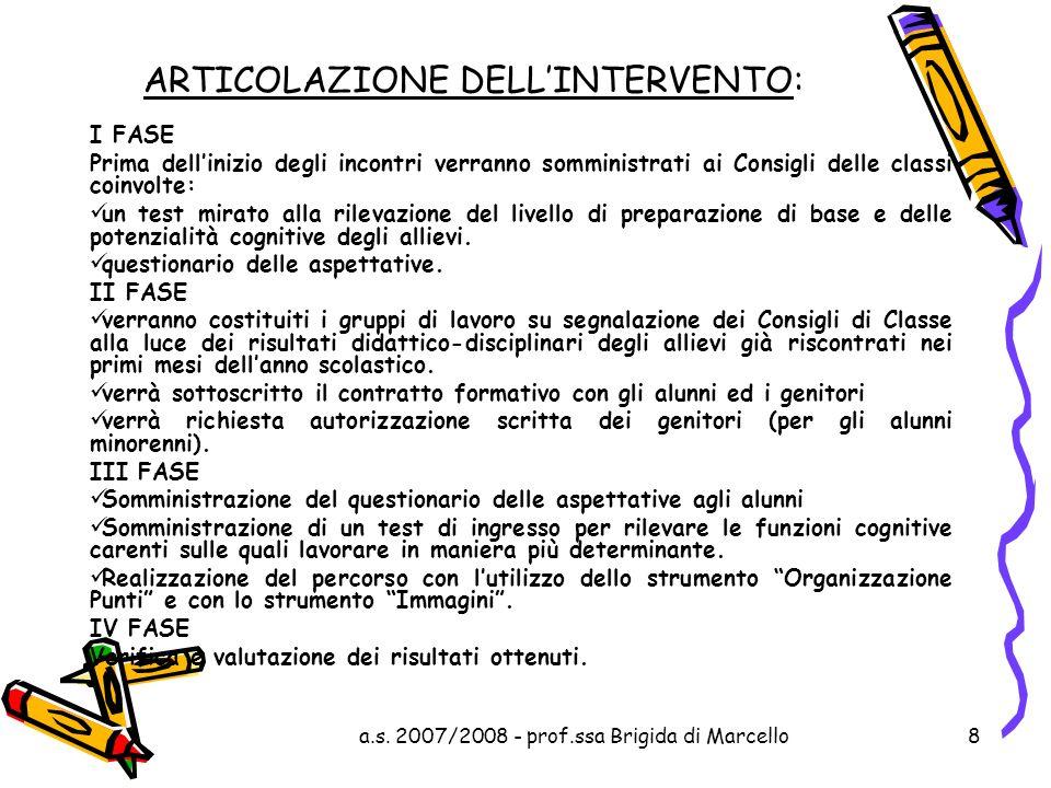 a.s. 2007/2008 - prof.ssa Brigida di Marcello8 ARTICOLAZIONE DELLINTERVENTO: I FASE Prima dellinizio degli incontri verranno somministrati ai Consigli