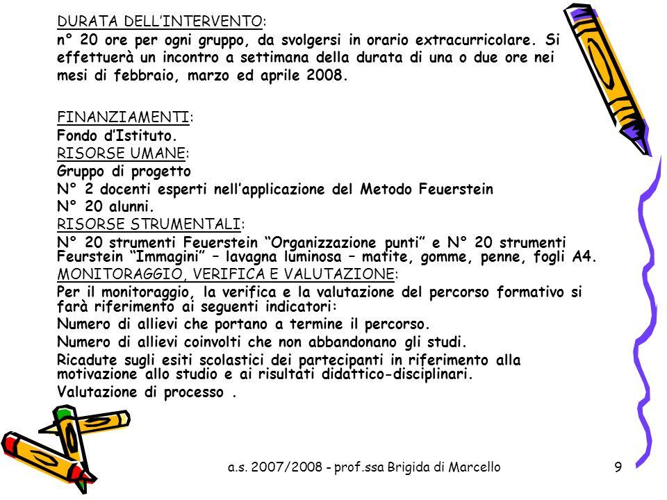 a.s. 2007/2008 - prof.ssa Brigida di Marcello9 DURATA DELLINTERVENTO: n° 20 ore per ogni gruppo, da svolgersi in orario extracurricolare. Si effettuer