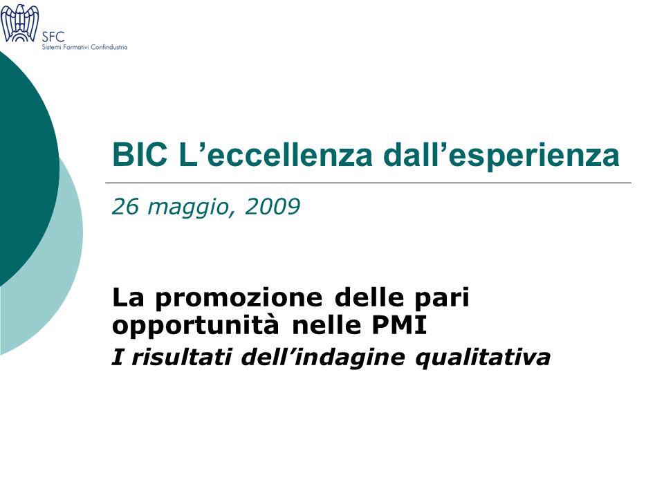 BIC Leccellenza dallesperienza 26 maggio, 2009 La promozione delle pari opportunità nelle PMI I risultati dellindagine qualitativa