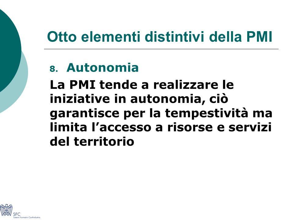 Otto elementi distintivi della PMI 8.