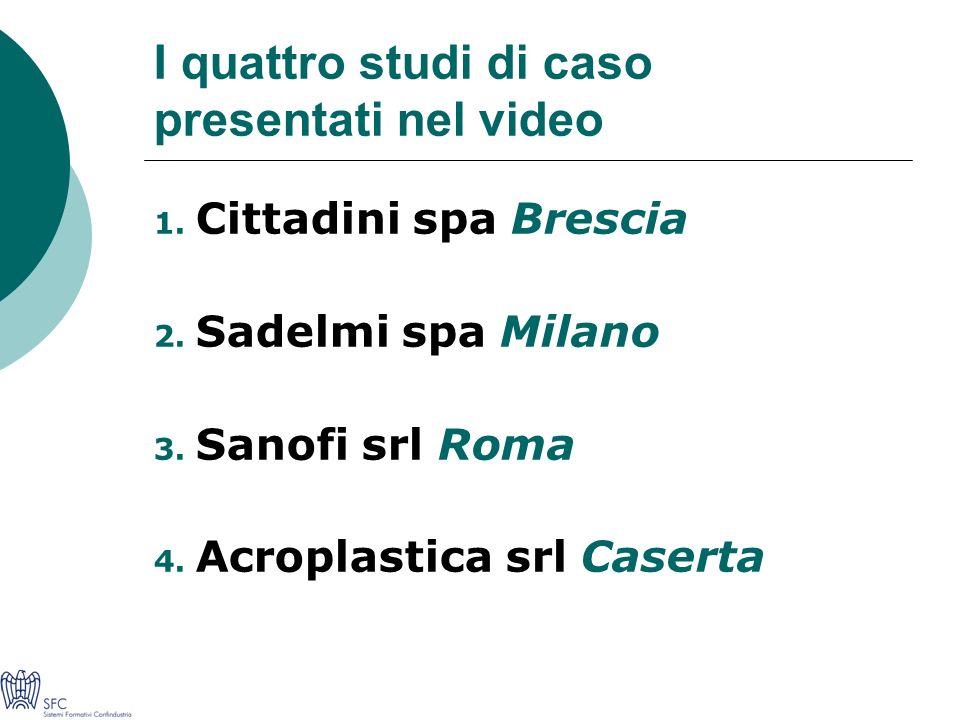 I quattro studi di caso presentati nel video 1. Cittadini spa Brescia 2.