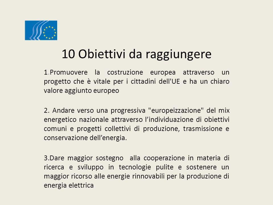 10 Obiettivi da raggiungere 1.Promuovere la costruzione europea attraverso un progetto che è vitale per i cittadini dell UE e ha un chiaro valore aggiunto europeo 2.