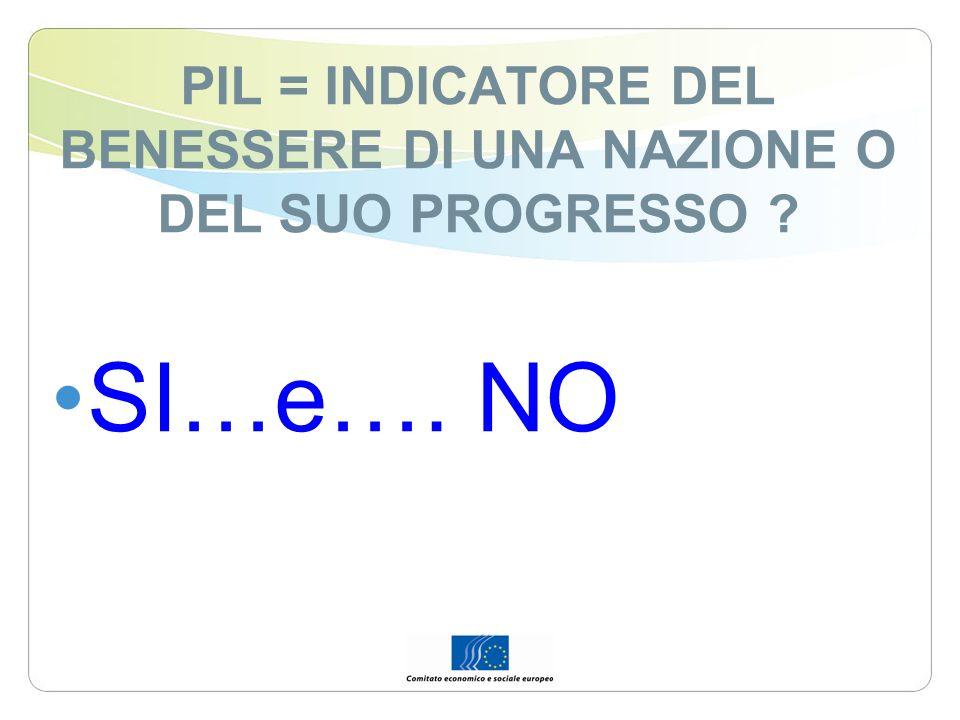 PIL = INDICATORE DEL BENESSERE DI UNA NAZIONE O DEL SUO PROGRESSO ? SI…e…. NO