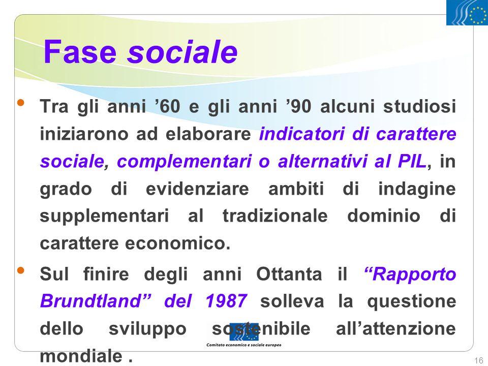 Fase sociale Tra gli anni 60 e gli anni 90 alcuni studiosi iniziarono ad elaborare indicatori di carattere sociale, complementari o alternativi al PIL