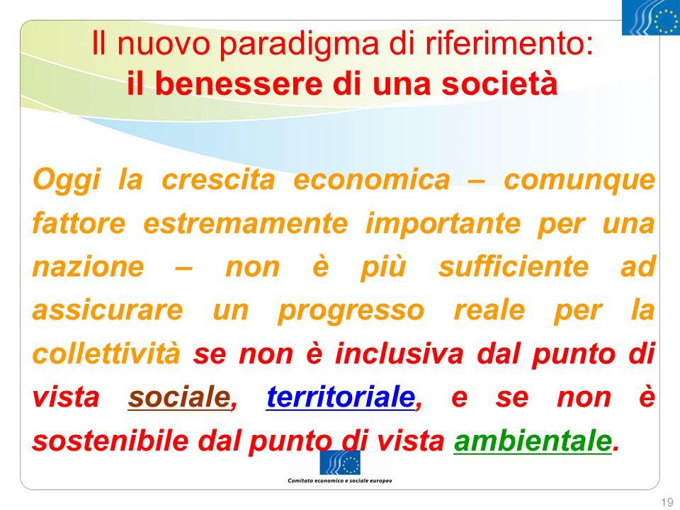 Il nuovo paradigma di riferimento: il benessere di una società Oggi la crescita economica – comunque fattore estremamente importante per una nazione –
