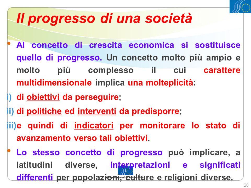 Il progresso di una società Al concetto di crescita economica si sostituisce quello di progresso. Un concetto molto più ampio e molto più complesso il