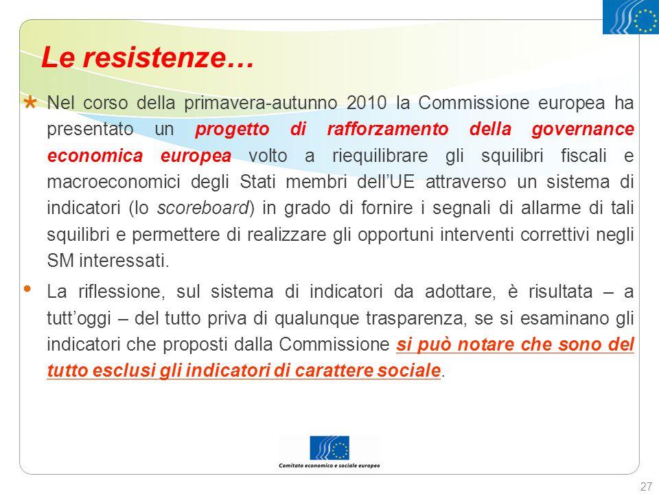 Le resistenze… Nel corso della primavera-autunno 2010 la Commissione europea ha presentato un progetto di rafforzamento della governance economica eur