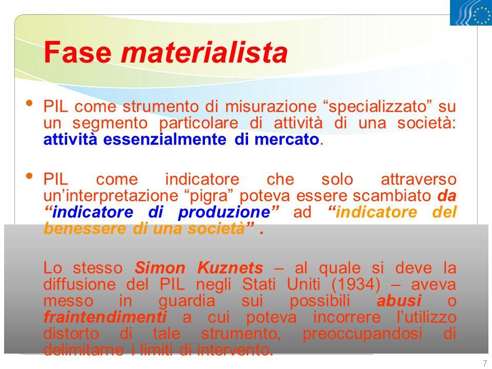 Fase materialista PIL come strumento di misurazione specializzato su un segmento particolare di attività di una società: attività essenzialmente di me