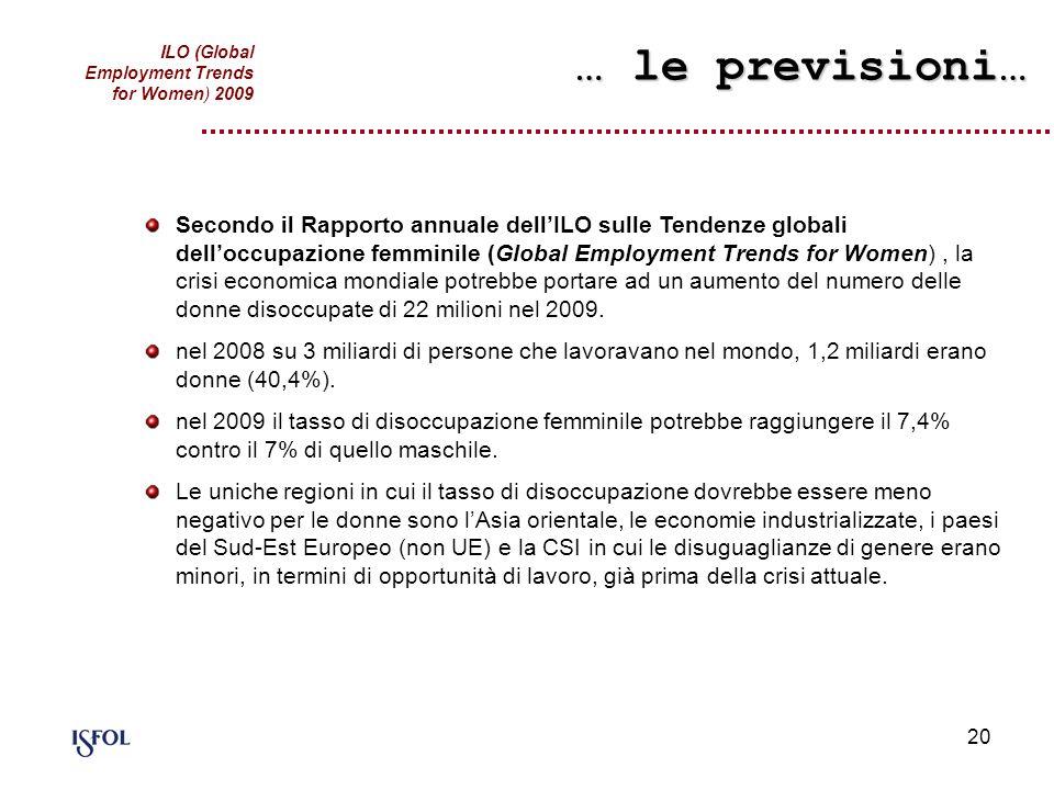 20 Secondo il Rapporto annuale dellILO sulle Tendenze globali delloccupazione femminile (Global Employment Trends for Women), la crisi economica mondi